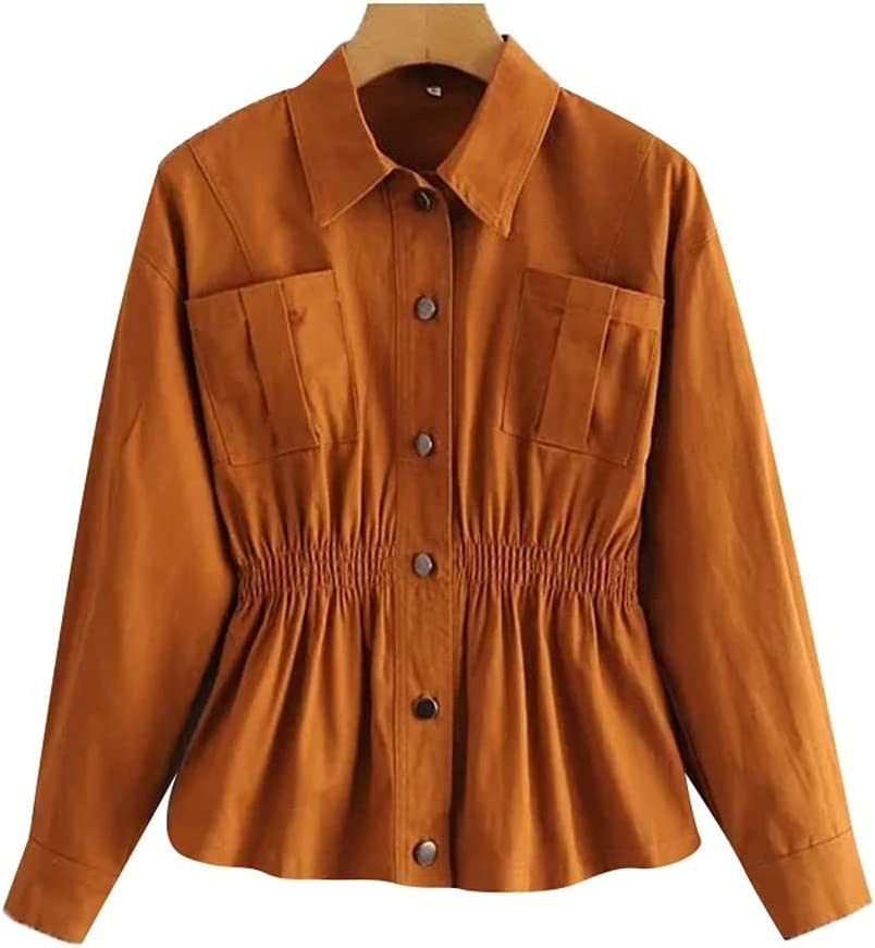 HLMSKD Women Fashion with Pockets Style Max 64% OFF Lape A surprise price is realized Jacket Vintage Coat