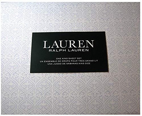 Lauren 4 Piece Queen Size Sheet Set Medallion Blue Cotton