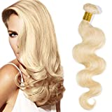 12'(30cm) SEGO Extensiones de Cortina Pelo Natural Humano [Brazilain Blonde Human Hair Bundles] #613 Blanqueador Rubio 100% Remy Cabello Brasileño sin Clip Rizado (1 Pieza,100g)