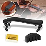 Violin Shoulder Rest for 4/4-3/4 size,Collapsible and Height Adjustable Feet,Violin universal Type Violin Parts soft safety easy to use,High strength sponge,Including Violin Mute and Violin rosin