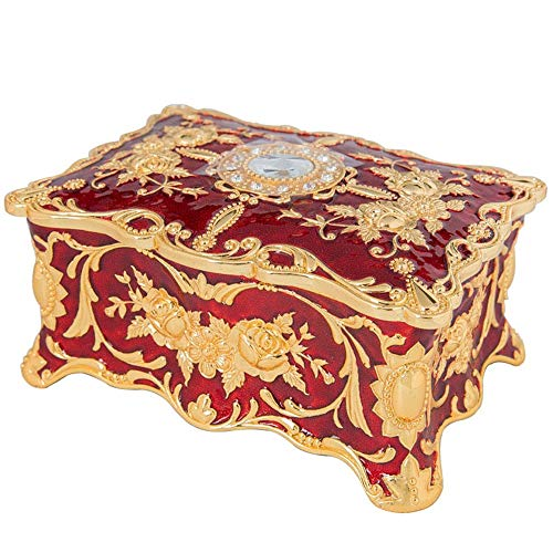 DANJIA Caja de joyería con Incrustaciones de Diamantes de imitación Inicio Tocador Doble Espacio de Almacenamiento decoración de la Caja Esmalte Pintado Regalos Metal Craft (Color : Rojo)