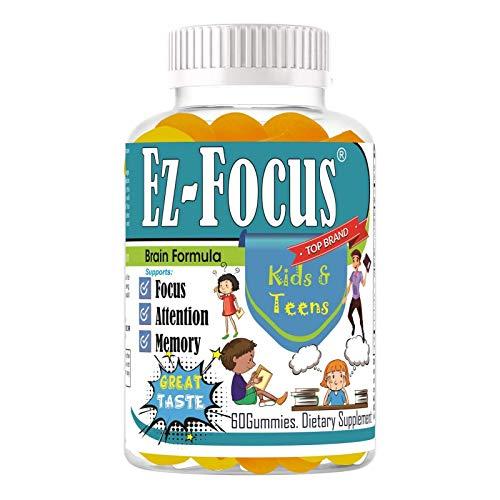 Ez Focus Gummies for Kids Brain Focus Chewable Focus Kids Vitamins Attention Supplement for Kids, Children and Teens Great Taste Kids Gummies for Focus Calming Natural Omegas DHA School Study Task