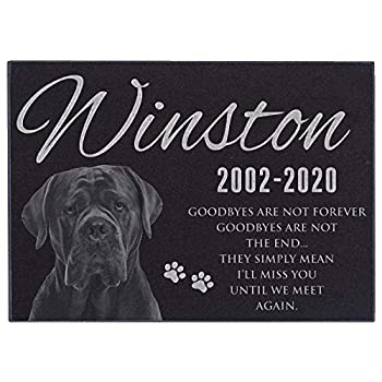 Lara Laser Works Pet Memorial Gifts Personalized Dog Memorial Stone with Photo - 11x8,5  Medium - Pet Loss Gifts Dog Headstone Sympathy Gifts Dog Remembrance Engraved Granite Pet Grave Markers