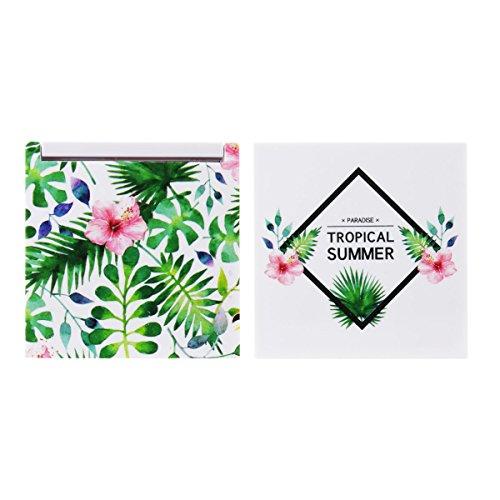 Les Trésors De Lily [Q0504] - Miroir de poche 'Tropical' blanc vert - 6.7x6.7 cm