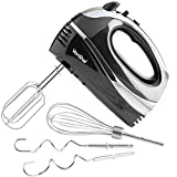VonShef Professional 300W Hand Mixer, Black, Includes Chrome Beaters, Dough Hooks, Balloon Whisk
