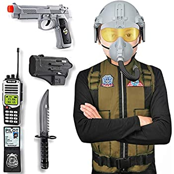 Kids Jet Fighter Air Pilot Costume Deluxe Dress Up Role Play Set with Helmet Toy Gun Accessories  9 Pcs
