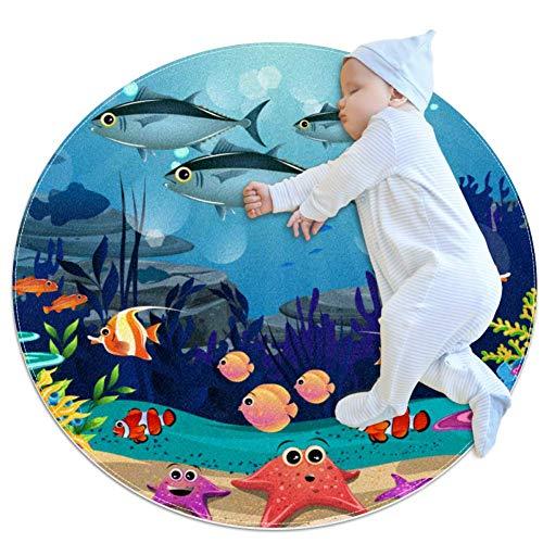 PLOKIJ Beauty of Marine Life Couverture de Jeu bébé Rond Enfants Tapis de Jeu épaissie bébé Ramper Pad 27,6x27,6IN, Multicolore 02, 80x80cm/31.5x31.5IN