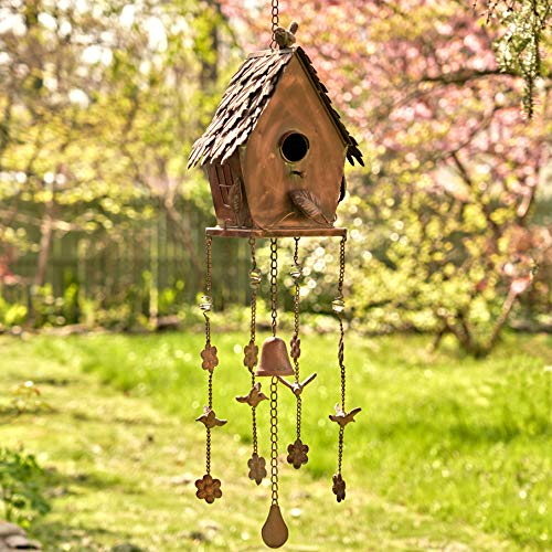 Zaer Ltd. Hanging Copper Colored Fancy Roof Birdhouse Wind Chime (Classic House)