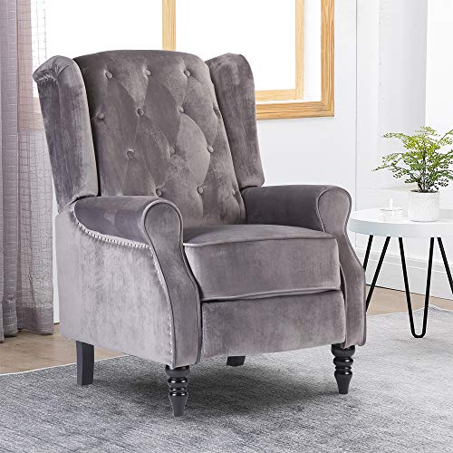 Ansley&HosHo-EU Padded Sofa Chaise Recliner Chair for Elderly People, Velvet Lounge Couch Single Sofa Accent Upholstered Reclining Armchair for Living Room Recreation Room, Silver Grey