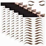 6 Sheets 3D Hair-Like Authentic Eyebrows Eyebrow Transfer Stickers Waterproof Eyebrow Tattoo Stickers Eyebrow Grooming Shaping Makeup Accessories, 60 Pairs (High Arch Eyebrow)