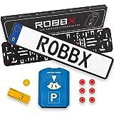 ROBBX® (2er Set) Auto Kennzeichenhalter schwarz - Vibrationsdämpfer für Lackschutz - 5 in1 Parkscheibe - Rahmenloser Nummernschildhalter werbefrei