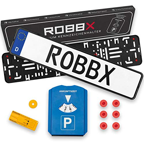ROBBX Set of 2 car number plate holders, black, frameless license plate holder, advertisement-free, vibration damper for paint protection, free parking disc