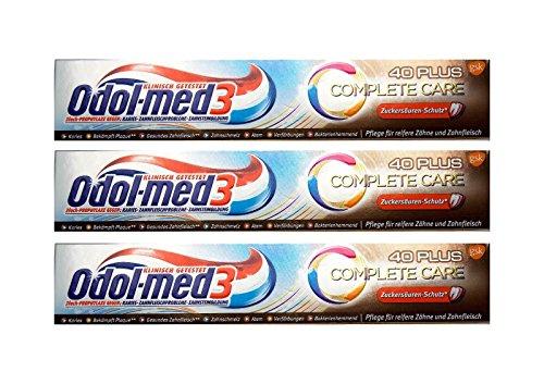 3x 75ml Odol-med 3 Complete Care 40Plus Zahnpasta Zuckersäure-Schutz toothpaste