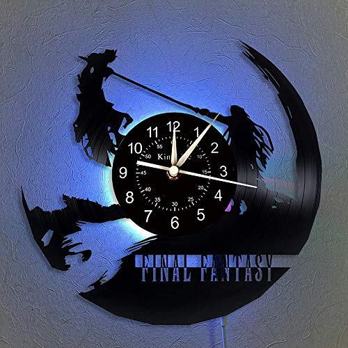 BFMBCHDJ Final Fantasy Vinyl Record Wall Clock LED Quartz Clock Home Decor Clock Unique Cartoon Gift 7 Color Luminous Wall Clock with LED 12 Inches