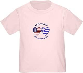 CafePress Greek/USA Flag Hearts Toddler Tshirt