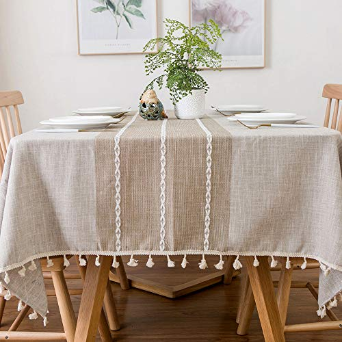 Aonewoe Rechteck Tischdecke 140x250cm Dekoration Elegante Baumwoll-Leinen Tischdecke mit Quaste Rand Staubdicht Waschbar Küchentisch Abdeckung für Esstisch (Leinen)