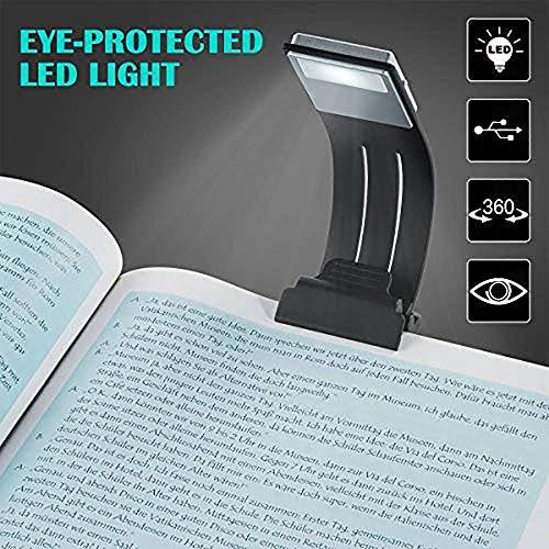 BLOOMWIN Luce Da lettura Piechevole, Mini Lampada da Libro USB Ricaricabile 3 Luminosità Regolabile Con Clip Magnetica per Kindle Libro Scrivania Viaggio