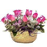 Florclick - Capazo Rosas fucsia - Rosas frescas a domicilio 24h