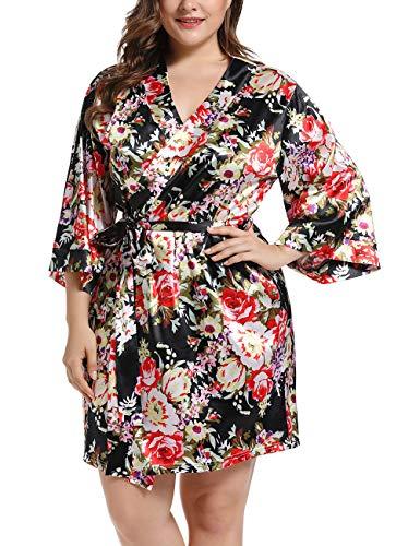 Damen Morgenmantel Kimono Satin Kurz Große Größen Nachtwäsche Bademantel Robe Schlafanzug Mit Blumen Schwarz 5XL
