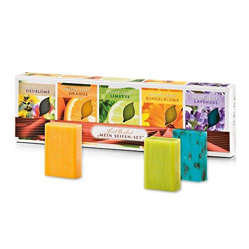 Sanct Bernhard Seifen-Set 5er Pack Heublumen-, Orangen-, Limetten-, Ringelblumen- und Lavendel-Seife 5 x 50g