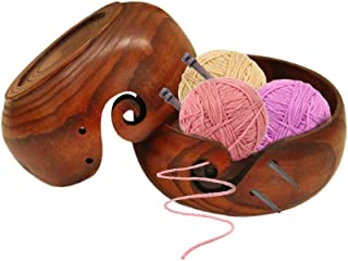 Bol de rangement portable en bois pour fils - Support et organiseur pour fils à tricoter, bol pour fils, fait à la main en...