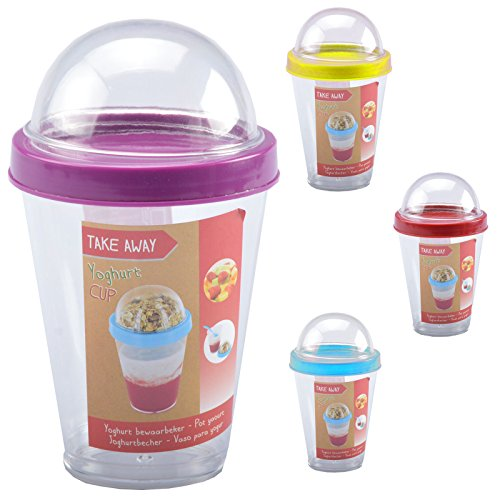 Mueslibekers, muesli, to go, met lepel, yoghurtbeker, fruit, school, kantoor, 300 ml