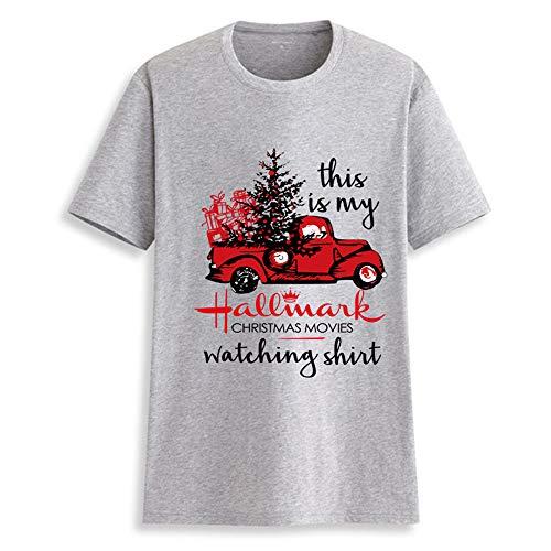 Merry Christmas T-Shirt Women This is My Hallmark Christmas Movies Watching Shirt Sleeve Tee Tops Blouse (Gray, XX-Large)