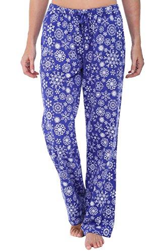 Alexander Del Rossa Women's Flannel Pajama Pants, Long Cotton Pj Bottoms, Medium Snowflakes on Blue (A0703Q57MD)
