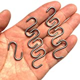 200Pcs Stainless Steel 1 Inch S Hook Connectors Mini S-Shaped Hangers Ornament for Jewelry Key Ring Chain Hardware Pet Name Tag Wood Circles Fishing Lure and Assembly DIY Crafts Net Equipment (200)