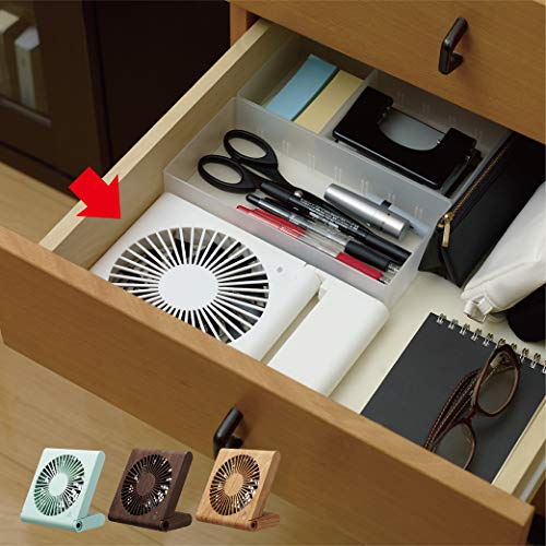ドウシシャ卓上扇風機スリムコンパクトファン3電源(ACUSB乾電池)風量3段階静音ピエリアダークウッドFSU-107UDWD