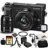 Panasonic Lumix DMC-GX85 Mirrorless Digital Camera with 12-32mm and 45-150mm Lenses (Black) (DMC-GX85WK) - Bundle - with LED Video Light + DMW-BLE9 Battery + 32GB Memory Card + Soft Bag + More