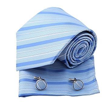 Blue Stripes Woven Silk Neckie Handkerchiefs Cufflinks Gift Box Set royal blue italian tie Pointe Tie PH1155 One Size Royal Blue