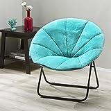 Mainstays Faux-Fur Saucer Chair, Multiple Colors (Aqua Wind)