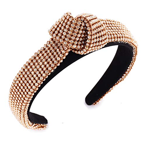 Rhinestone Headband for Women Knotted Bejewelled Elastic Headband Crystal Embellished Hair Accessories Hairband for Girls (Gold)