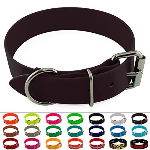 LENNIE BioThane Halsband, Edelstahl-Rollschnalle, 38 mm breit, Größe 59-69 cm, Dunkelbraun, Aufdruck möglich