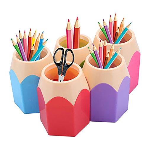 GlobalDeal Direct 5 Pack Creative Pencil Tip design Pen Vase Pencil Pot Makeup Brush Holder Stationery Storage Organizer Desk Tidy Container