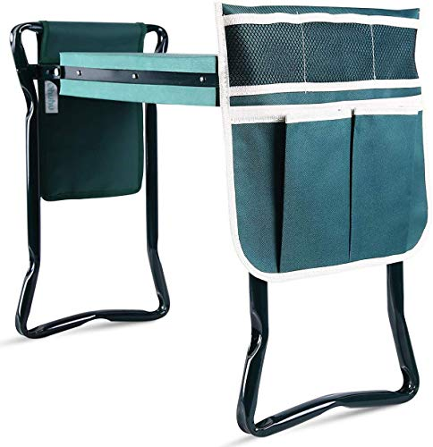 Ohuhu Upgraded Garden Kneeler and Seat with Thicken & Widen Soft Kneeling Pad, Foldable Garden Stool Bonus 2 Large Tool Pouches, Sturdy Garden Tools Garden Accessories, Christmas Ideal Gifts