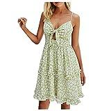 Vestido de verano para mujer, estilo bohemio, cuello en V, floral, vestido holgado, minivestido, elegante, para el tiempo libre verde XL