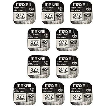 Maxell SR626SW–377–Batteria all'ossido di Argento–Confezione da 10pezzi.
