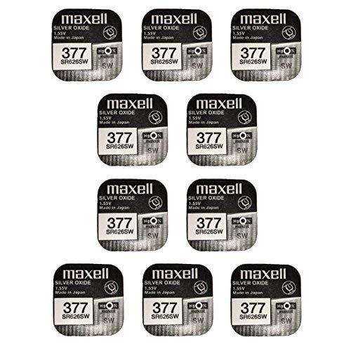 Maxell SR626SW–377–Pack de 10 piles en oxyde d'argent