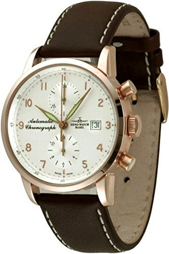 Zeno Watch Basel Herren Uhr Analog Automatik mit Leder Armband 6069BVD-RG-f2