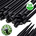 EOX Drip Irrigation Emitters, 50 PCS Water Flow Irrigation Drippers 1/4 in Adjustable Drip Emitters Spray Garden Quarter Inch Drip System Emitters 360 Degree Vortex Irrigation Drippers Watering Stake