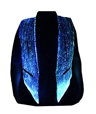 LED Fiber Optic Waistcoat Light up Vest for Men Fashion Glow in The Dark Luminous Vest (XL, White)