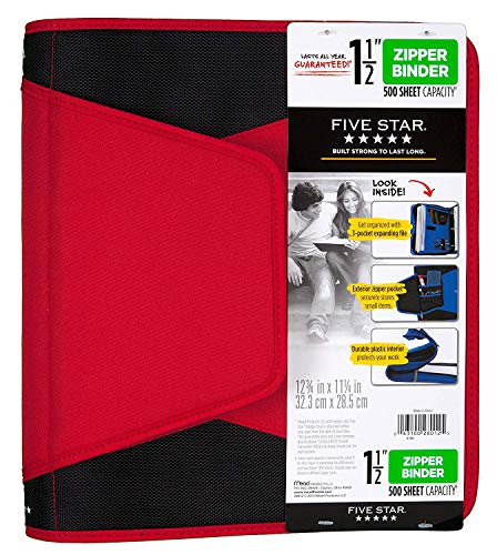 Five Star 1-1/2 Inch Zipper Binder, 3 Ring Binder, 3-Pocket Expanding File, Durable, Color Selected For You (28012) Photo #10