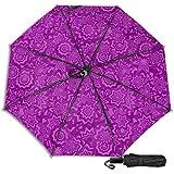 Patrón púrpura papel pintado formas decoración sol lluvia manual tres paraguas