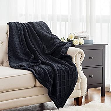 Bedsure Knitted Sherpa Throw Blanket Navy Knit-Sherpa 50x60 Rustic Home Decor Bedding blanket