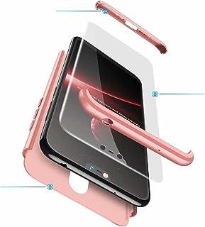 Jtailhne Kompatibel med Fodral Nokia X6 2018, 360° 3 i 1 hårt PC Tunn stöttåligt reptåligt Bumper case Rose Guld & 2X HäRd...