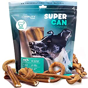 100% Natural Bully Sticks for Dogs – Healthy Free Range Grass Fed Beef Sticks Dog Chews, High Protein Single Ingredient Long Lasting Dog Treats for Small & Large Breeds – Super Can Made & Packaged
