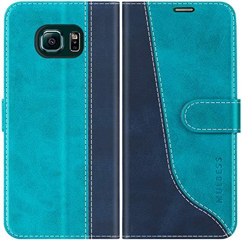 Mulbess Custodia per Samsung S6 Edge, Cover Samsung S6 Edge Libro, Custodia Samsung Galaxy S6 Edge Pelle, Flip Cover per Samsung Galaxy S6 Edge Portafoglio, Blu Mint