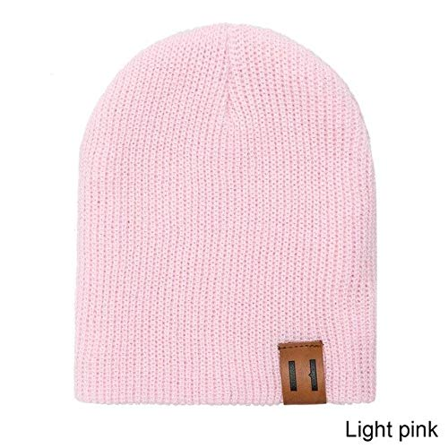 Fashion Autumn Winter Hat And Scarf For Women Child's Hat Scarf Suit Solid Color Beanies Cap Hat And Snood Boys Girls -light pink 2-kid